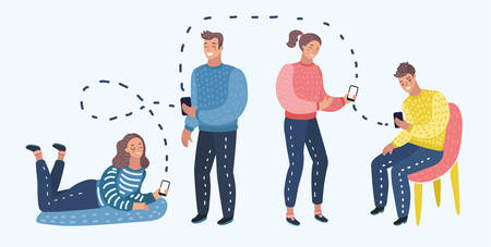 Vector cartoon illustration of Students or working Group With Smart Cell Phone Social Network Communication. Illustration