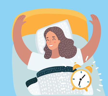 Ilustración de dibujos animados vector de hermosa mujer feliz despertando el nuevo día soleado en la cama. Suena el despertador