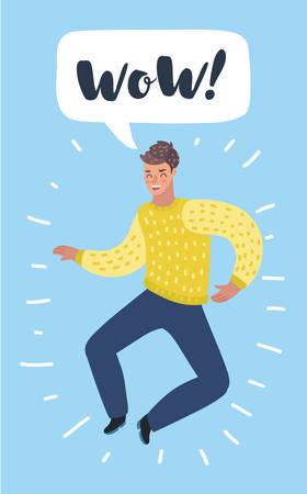 Vector cartoon illustration of happy character jumps for joy. Man celebrate wining. Bubble speech above. Illustration