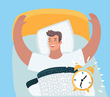 Vector cartoon illustration of Cartoon character, Happy man wake up from the sound of the alarm clock in his bed.
