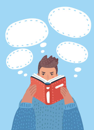 Vector cartoon illustration of boy reading a book. Bubble thoughts arround.