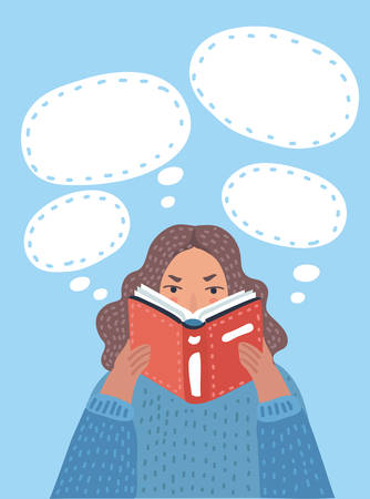 Vector cartoon illustration of cartoon pretty woman reading book with thought bubbles