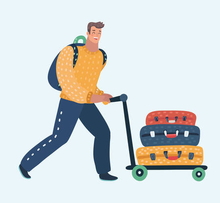 Vector cartoon illustration of Young man pushing airport trolley with luggage, suitcases, bags, man going on vacation, holidays or relocate pushing luggage trolley in the airport. 矢量图像