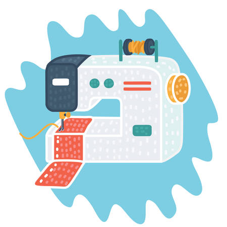 Vector cartoon illustration of Sewing machine icon. Çizim