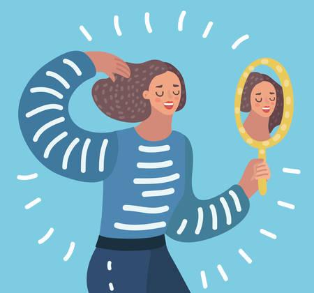 Vector cartoon illustration o Kobieta oglądając lustro i podziwia siebie, pewność siebie, narcyzm. Ilustracje wektorowe