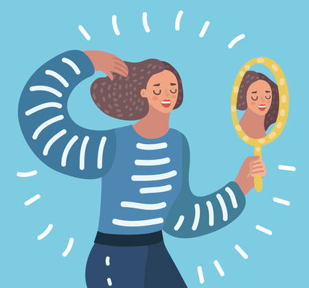 Vector cartoon illustration o Woman watching a mirror and admires herself, self-confidence, narcissism. Çizim