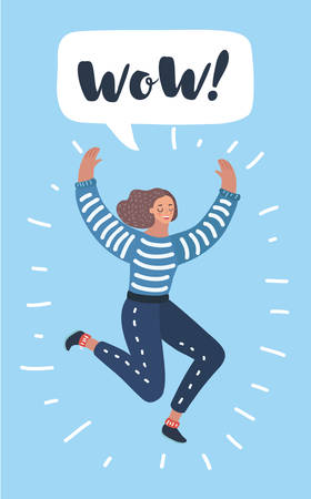 Vector cartoon illustration of Young Excited Woman Jumping hands Up with Comic Speech Bubble.