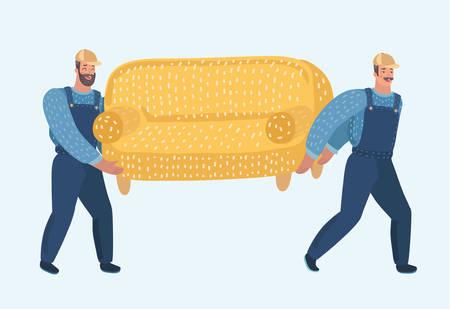 Illustration de dessin animé de vecteur de deux porteurs portent un canapé. Les déménageurs déplacent un canapé. Personnages humains drôles modernes sur fond blanc. Vecteurs