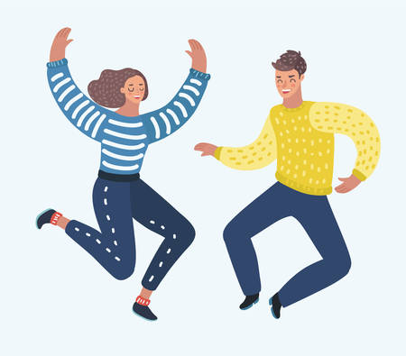 Vector cartoon illustration of Couple of peple cheerfully jumping with their hands up. Concept of positive emotions and celebration. Vector illustration for banner, poster, website, postcard.