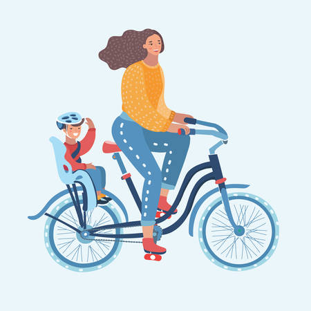 Vector cartoon illustration of Young Woman riding a bicycle with her cute Baby on white background. Woman take bike trip with her little son on child seat.