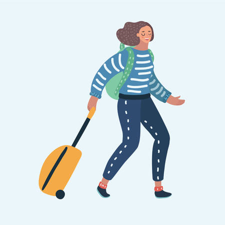 Vector cartoon illustration of happy tourist girl with a suitcase on wheels and backpack. Female character on white background. Travel bag with wheels. Holiday or weekend.