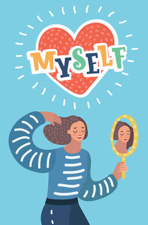 Vector cartoon illustration of Narcissistic woman character looks in the mirror. Narcissism or self-confidence concept. Lettering word Myself decorated by shapes.
