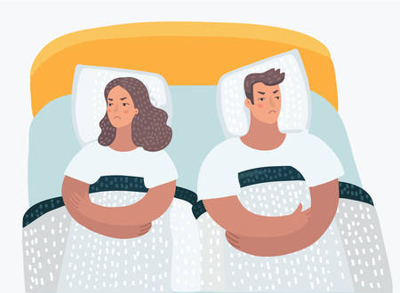 Vector cartoon illustration of a Man and a Woman offended each other. Family interpersonal problems. Psychology of relationship.