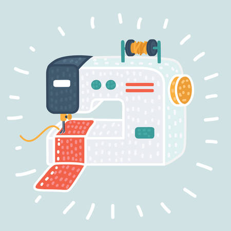 Vector cartoon illustration Sewing machine icon.