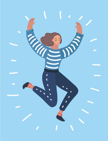 Vector cartoon illustration of Happy woman jumping