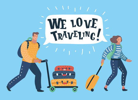 Vector cartoon illustration of Couple of tourists with travel bags. Speech bubble above. Stock Illustratie