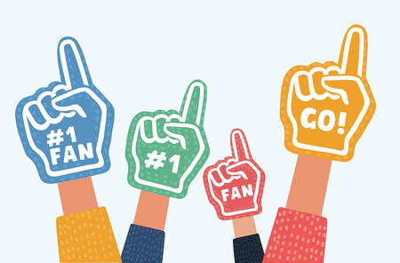 Vector cartoon illustration of Hand wearing foam finger in different colors isolated object on white background. Illustration