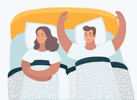 Vector cartoon illustration of couple in bed problems. Offended angry wife. Family psychological problems. Çizim