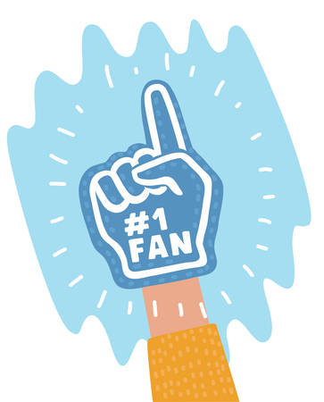 Vector cartoon illustration of color fan foam hand with up finger on human hand. Иллюстрация