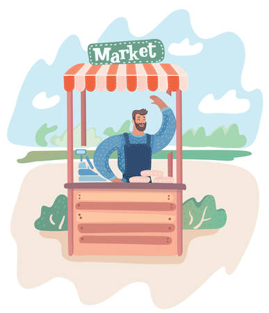 Vector cartoon illustration of young man standing at market stall. Hipster vendor with the beard waving hands. Male characters at the park landscape. Stockfoto - 102007807
