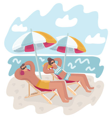 Vector cartoon illustration of beautiful couple man and woman resting on the beach. Taking sunbath under umbrella. Modern human characters on seaside.