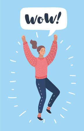 Vector cartoon illustration of happy surprised woman in jeans jumping isolated. Bubble speech above