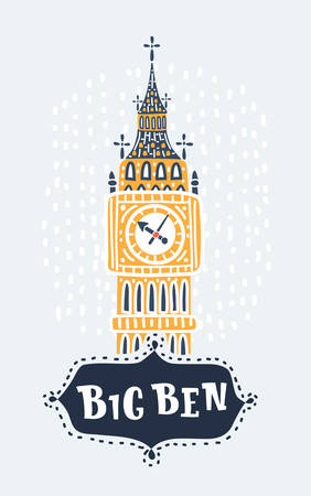 Vector cartoon illustration of of Big Ben tower. Hand drawn lettering name. Object on white background.