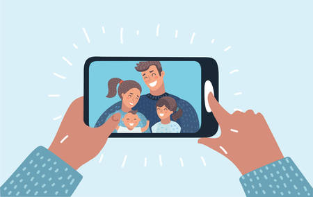 Vector cartoon illustration of family call concept. Young family with 2 kids are having video call using the smartphone. Human hand hold device. Chat. Vectores