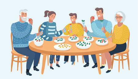 Vector cartoon illustration of Family meal. Father, mother, son and daughter, grandmother and grandfather together sit at the table and have lunch. Three generation. Human characters on blue background.