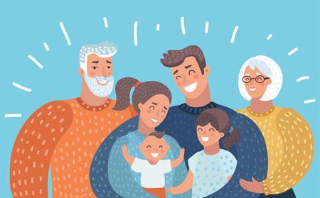 Ilustración de dibujos animados de vector de familia de dibujos animados grande con padres, hijos y abuelos. Imagen horizontal sobre fondo brillante.