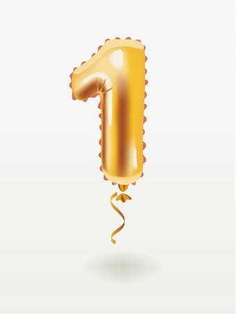 Vector carton illustration of number one . First inflatable Golden number 1 four with golden ribbon isolated on white background.