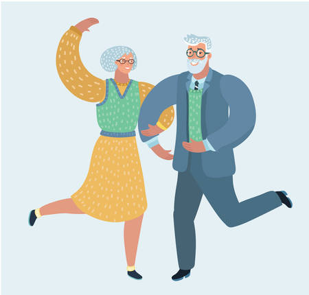 Vector illustration of happy elderly couple dancing. Human characters on white background. Ilustração