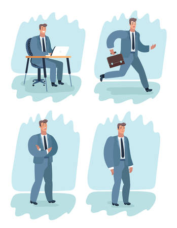 Vector cartoon illustration of a man in suit character in different situations. Run, Self confidence folding arm, work on laptop at table, sad upside down frustration.