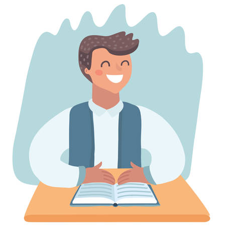 Vetor cartoon illustration of Happy smiling little school boy character studying thinking and going to read his book at the table.