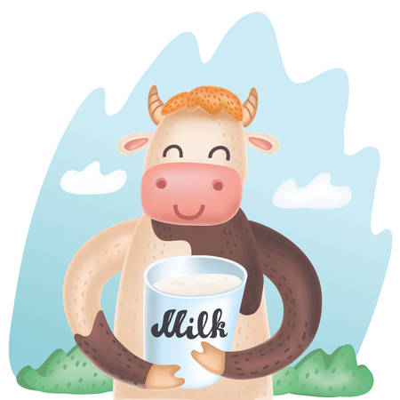 Vector cartoon cute illustration of Cow with bucket of milk. Cartoon cute and funny dairy farm. Natural food, organic product, locally grown. Animal character on nature summer background.