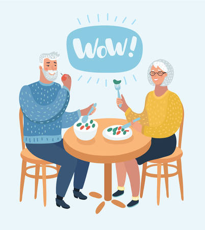 Vektorkarikaturillustration der glücklichen Karikaturgroßeltern. Ein älteres Ehepaar sitzt im Café und isst gesundes, leckeres Essen. Wow Sprechblase oben. Menschlicher Charakter auf weißem Hintergrund.