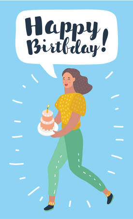 Vector cartoon illustration of woman holding dish with cake and congratulates happy birthday by speech balloon with hand drawn lettering. Ilustração