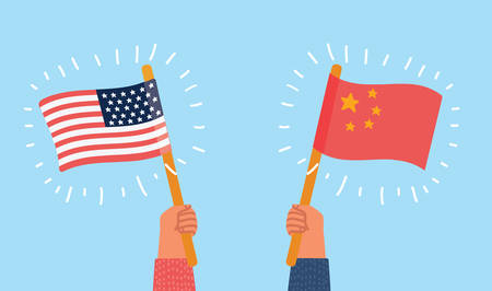 Vector cartoon illustration USA versus China. Human hands with flags on blue background.