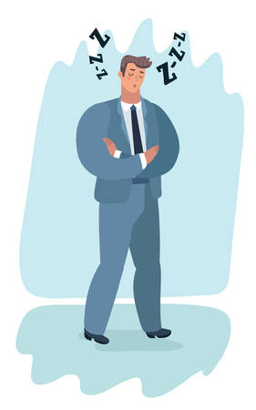 Vector cartoon illustration of Boring report. A man in a suit fell asleep standing.