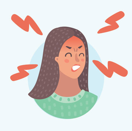Vector cartoon illustration of angry or furious looking red faced emoticon emoji female character. Furious woman. Very frenzied girl. Portrait avatar on white background.