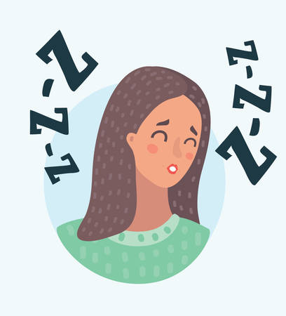 Vector cartoon illustration of girl head with facial emotion, avatar character, woman sleep face with different female emotions concept. Female portrait face snores on white background.