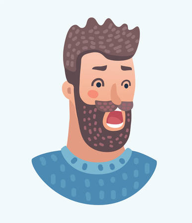 Vector cartoon illustration of scared bearded man isolated on White Background - Cartoon Character portrait. Human character