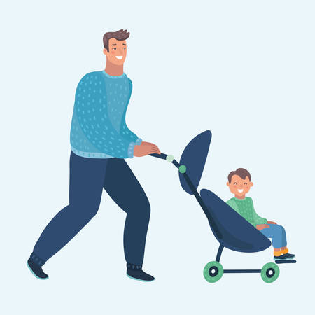 Vector cartoon illustration of Father with toddler in the pram. Human characters on white background.