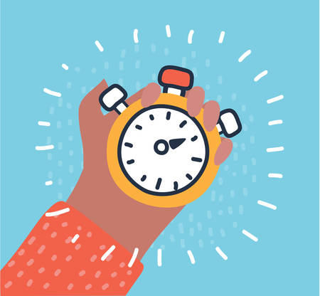 Vector cartoon illustration of Man holds in his hand a sports stopwatch. Time management concept.