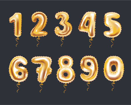 Vector cartoon illustration of Metallic Gold Letter Balloons, golden numeral alphabet. Bouncer inflatable numbers on dark background. Stock Illustratie