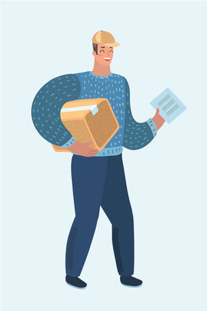 Vector cartoon illustration of delivery man, guy with cardboard box. Postman in cap isolated on white background. Courier in cap with package, parcel. Postal, mail service.