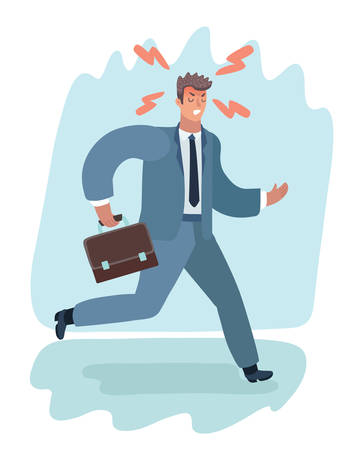 Vector cartoon illustration of cartoon of furious man in suit with suitcase run. Angry male character.