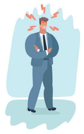 ilustración de dibujos animados del hombre enojado con los brazos cruzados