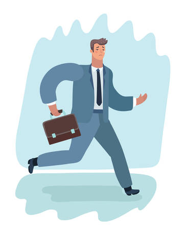 Vector cartoon illustration of sad Business man in suit boring Monday running with suitcase.