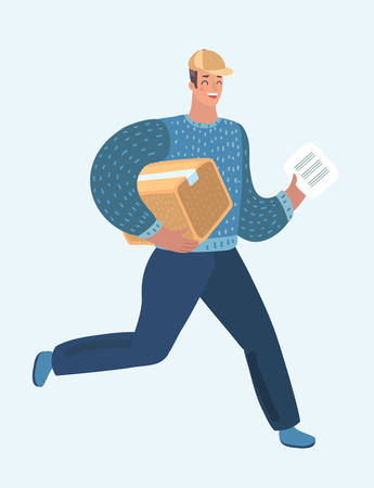 Vector cartoon illustration of Fast delivery. Running courier with a package. Hurrying the man with a box in hand. Vektoros illusztráció